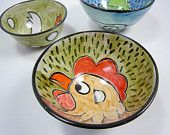 Brown Chicken Ceramic Small Serving  Dish Bowl Clay Pottery Majolica Handmade on Olive Green