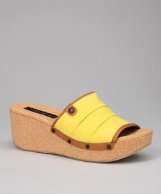 Take a look at this Yellow Yvana Wedge Slide by Calvin Klein Jeans on #zulily today!