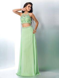 A-Line/Princess Halter Beading Sleeveless Floor-Length Chiffon Dresses
