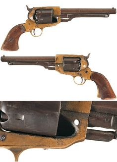 Serial #:  1248  Manufacturer:  Spiller & Burr Model:Navy  Type:RevolverGauge:36 percussionCatalogPage:14   BarrelLength:  6 inch octagon  Finish:blue/brass  Grip:walnut  Stock:  N/A Class:  Antique  Description:  Brass frame percussion revolver manufactured by Spiller and Burr in Macon, Georgia c. 1864. The revolver has a distinctive flat sided brass frame with six-shot cylinder with six stop slots, octagon barrel and two-piece walnut grips. The revolver has a sighting groove on the top…