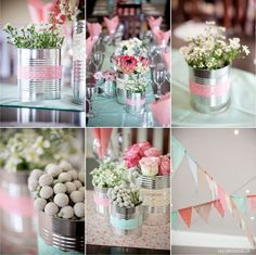 Latinhas + Rendinhas + Flores se transformam em um lindo enfeite de mesa! Ideia linda e sustentável para decorar a festa! blog.conviteriadaline.com.br