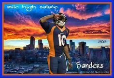 Give it the Mile High Salute Broncos fans! Denver Broncos Football, Go Broncos, Broncos Fans, Football Boys, Football Season, Emmanuel Sanders, Wide Receiver, Peyton Manning, Home Team