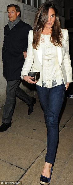 Casual: The Duchess of Cambridge's sister donned a simple outfit for her night out and paired skinny jeans with a cream top, matching blazer and wedged shoes
