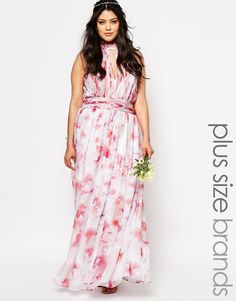 Image 1 ofFame And Partners Plus River Printed Maxi Dress