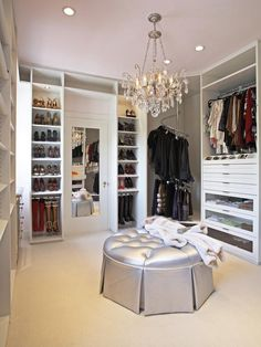 Fascinating Walk in Wardrobe Designs Inspiration: Beautiful Walk In Wardrobe Designs With Crystal Ceiling Light And White Shelving Furniture...