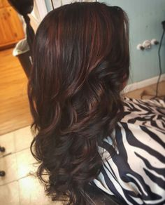 Red highlights on black hair