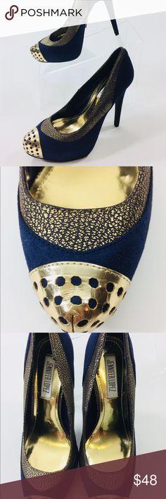 Jennifer Lopez Sz 6M Blue Suede Heels Jennifer Lopez Heels Blue Suede Gold Metal Toe Sz 6M Jennifer Lopez Shoes Heels