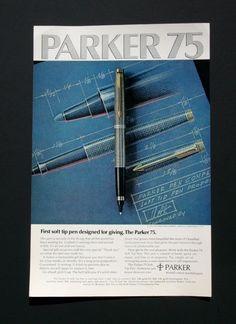 1974 Parker 75 Soft Tip Pen Vintage Advertising by AdVintageCom