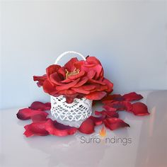 Lace Favor Baskets from Surroundings.com #lacefavorbasket Red Centerpieces, Party Favors, Baskets, Lace, Hampers, Basket, Racing, Princess Party Favors, Wedding Keepsakes