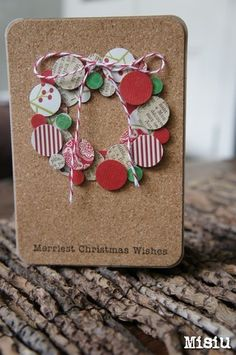 Circle wreath...this would be an awesome way to use scraps or even bits of wrapping paper!