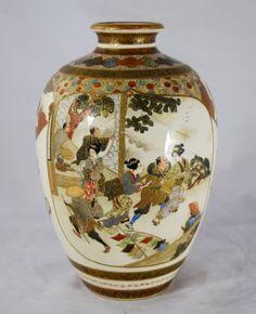 great quality unusual kinkozan japanese satsuma vase - photo angle #2