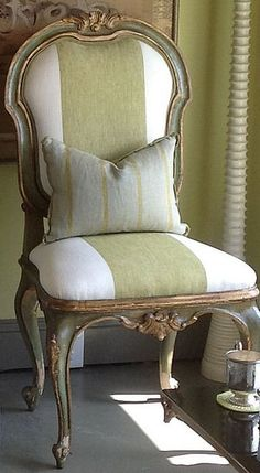 Green + white antique stripe chair