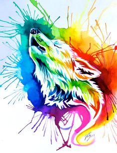 Rainbow Burst Wolf (on Ebay) by Lucky978 on deviantART #design #rainbow #color #illustration #sparkle #cool #awesome #painting #fantasy #neat #painted #sky #watercolor #water #wolf #wolves #howl