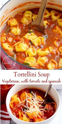 This tortellini soup recipe with spinach and tomatoes is a delicious family dinner that is simple to make, and my family loves it! And it happens to be vegetarian. #tortellini #soup