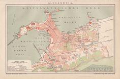 ALEXANDRIA 1893 Stadtplan Original Landkarte Lithographie / Antique City Map