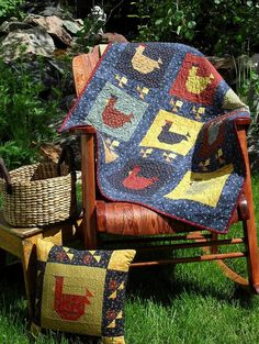 "INSTANT DOWNLOAD Pattern - Primitive Folk Art Quilt and Pillow - ""Chicken Dinner"" (e-Pattern No. CD-124)"