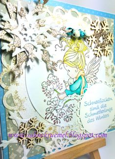"Snowy greeting card With ""Wee Lullaby"" Whimsy Stamps; Designerpaper First Edition; Snowflake die ""Snow Crystal"" Leane Creatief; Sentiment. Glitter Paper and Snowflake brad Rayher; Wooden embellishments (Snowflakes) Iris-istible;  WOW Embossingpowder; Colored with TwinklingsH2O; Die ""Snow Corner"" Wild Rose Studio; Bells Marianne Design"