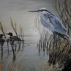 Huile sur toile Robert Frank, Lake Side, Bird, Animals, Decor, Blue Heron, Oil On Canvas, Drawings, Animales