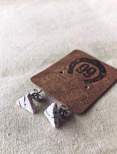 Free Shipping! New handmade earrings at 99 Farm Gift Shop. Handmade Jewellery, Earrings Handmade, Unique Jewelry, Handmade Gifts, Girls Jewelry, Women Jewelry, Handmade Polymer Clay, Clay Beads, Triangle