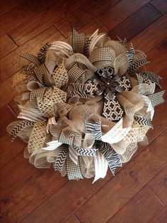 Burlap Deco Mesh Wreath with Cross