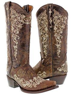 Women's Brown Abilene Leather Western Cowboy Boots Rhinestones Rodeo Cowgirl New #CowboyProfessional…