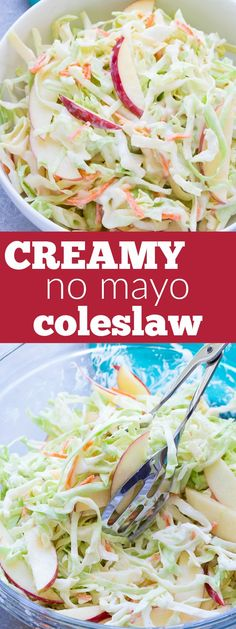 A creamy no mayo coleslaw made with Greek yogurt. This healthier coleslaw comes together in minutes and you'll love the addition of the sweet apple!   www.kristineskitchenblog.com