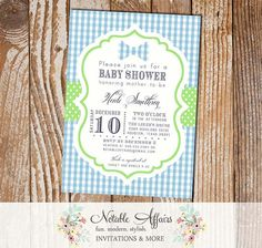 Baby Blue Gingham and Light Green Pastel Bowtie - baby shower OR birthday invitation - Perfect for your little man!