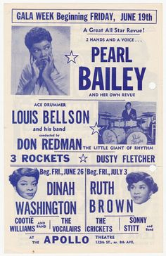 1953 Flyer for New York City's Apollo Theatre — Pearl Bailey, Dinah Washington