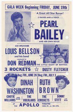 1953 Flyer for New York City's Apollo Theatre — Pearl Bailey, Dinah Washington