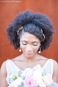 medium length wedding hairstyles for natural curly hair - medium length afro hairstyle for brides Natural Hair Wedding, Wedding Hairstyles Natural Hair, Curly Hair Styles, Natural Hair Styles, Natural Beauty, Twisted Hair, Mohawk, Pelo Afro, Peinados Pin Up