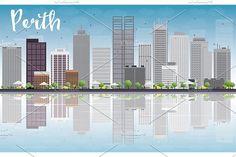 #Perth #skyline with #gray #buildings by Igor Sorokin on @creativemarket
