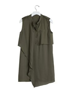 sleeveless layered blouse dress that features button up closure and pocket detailing