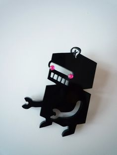 I AM NOT A ROBOT b#black #acrylic #perspex #lasercut #DIY #jewelry #hipster #pin #robot #pink #rhinestone #brooch by hiPop on Etsy