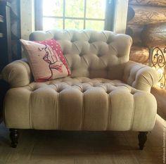 Мебель ручной работы. Ярмарка Мастеров - ручная работа. Купить Дизайнерское кресло. Handmade. Бежевый, капитоне, велюр, вельвет, велюр