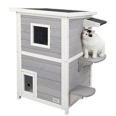 "Amazon.com : Petsfit 2-Story Weatherproof Outdoor Kitty Cat House/Condo/Shelter with Escape Door 20""Lx20""Wx32""H : Pet Supplies"