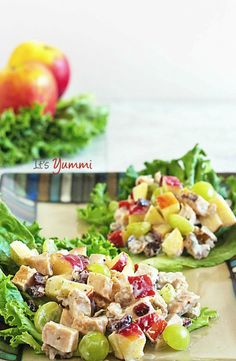 This healthy Waldorf salad has chicken, fresh apples, grapes and dried fruits…