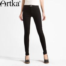 0ee255f1b Artka Women s Spring New Solid Color Skinny Slim Fit Pants Fashion Mid-waist  Full Length Pencil Pants With Pockets (Mainland))