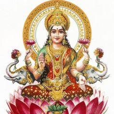 Lakshmi - hinduistické bohyně bohatství, prosperitu, světlo, moudrost, právě Voskovec