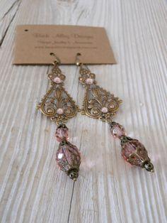Bohemian Pink Brass Filigree Earrings Renaissance earring
