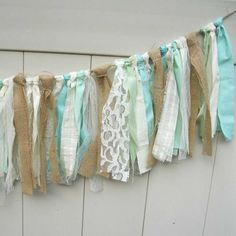 Shabby Chic Tattered Fabric Garland Shabby Chic by Hartranftdesign