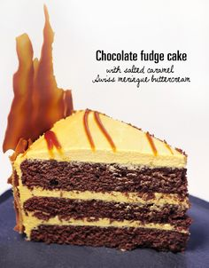 supergolden bakes: Chocolate fudge cake with salted caramel Swiss meringue buttercream