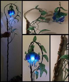 Druid staff, lantern holder for portable LED lights-light, viny rod with blue flower shaped lantern Cosplay Tutorial, Cosplay Diy, Cosplay Costumes, Fete Halloween, Halloween Cosplay, Diy And Crafts, Arts And Crafts, Paper Crafts, Portable Led Lights