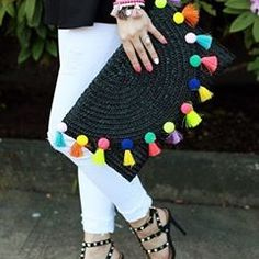 The perfect spring accessories - pom pom clutch and studded shoesThe only bags you'll need this summer: Straw totes, pom poms and more! Pom Pom Clutch, Embroidery Bags, Studded Heels, Boho Bags, Shoes With Jeans, Chloe Bag, Handmade Bags, Handmade Clutch, Crochet Bags