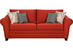 Shop for a Red Creek Sofa at Rooms To Go. Find Sofas that will look great in your home and complement the rest of your furniture. At Home Furniture Store, Online Furniture, Affordable Furniture Stores, Affordable Sofas, Sofa And Loveseat Set, Couch, Red Sofa, Sofa Sale, Red Fabric