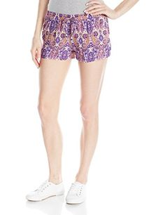 cool Derek Heart Junior's Printed Woven Festival Boho Short