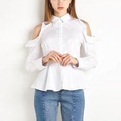 Fashion Women Lady Casual Lapel Collar Long Sleeve  Ruffles Blouse White Tops S-2XL  #Affiliate