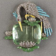 Trifari 'Alfred Philippe' покрытие и эмаль крана/птица на больших аспект... лот 185