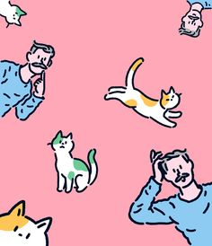 2016년작_제 고양이 좀 찾아주세요 - 디지털 아트, 일러스트레이션 Cute Animal Drawings, Cute Drawings, Digital Illustration, Graphic Illustration, 90s Art, Animation Sketches, Cat Character, Cute Poster, Colorful Animals