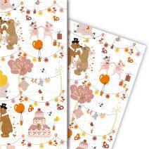 Hochzeits Geschenkpapier mit Brautpaar und Glücksbringern (4 Bögen, 32 x 47,5 cm)