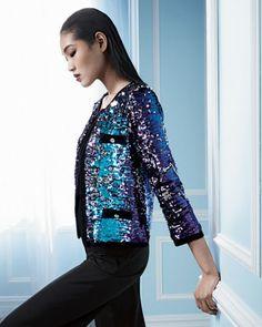Michael Simon Allover Sequined Jacket & Scoop-Neck Knit Tank, Women's - Neiman Marcus